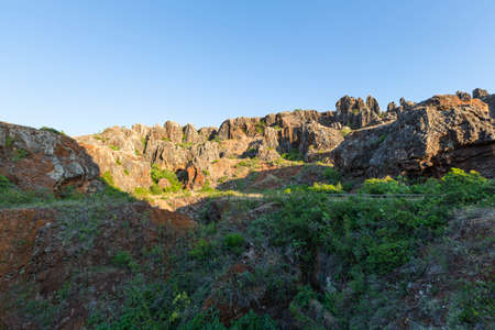 The Iron Hill (Cerro del Hierro), eroded landscape of old abandoned mines in the Sierra Norte of Seville Natural Park, Andalusia, Spain Imagens