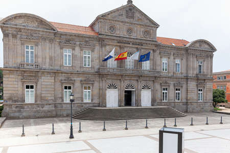 Main facade of the palace building of the Provincial Council of Pontevedra, in the Autonomous Community of Galicia, Spain