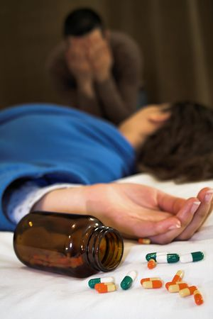 woman suicide with pills with man crying photo