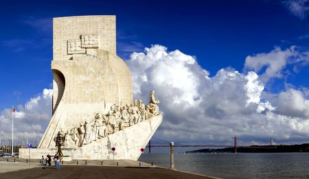 Sea-Discoveries monument in Lisbon, Portugal. Navigators statues in a stone caravel. Editorial