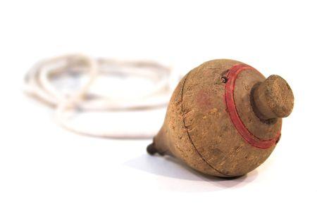 trompo de madera: Viejo, de madera arriba con un cord�n.