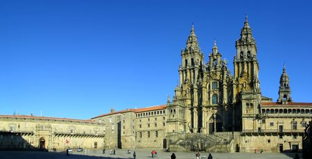 peregrinación: Catedral de Santiago de Compostela. Unesco Patrimonio de la Humanidad. Uno de los principales lugares de peregrinaci�n del catolicismo.  Foto de archivo