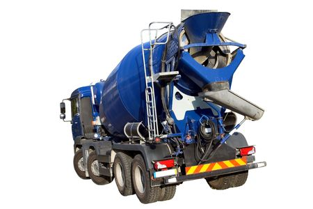 Cemento Mixer Truck isolato su bianco  Archivio Fotografico