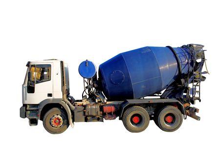 Cemento blu Mixer Truck isolato su bianco.