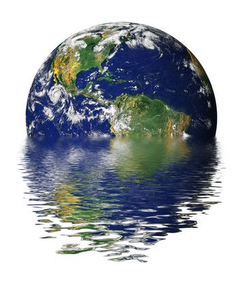 Drowning Earth due to Global Warming and Greenhouse Effect Stock Photo - 999708