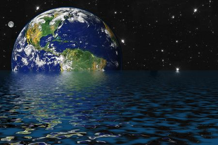 Drowning Earth due to Global Warming and Greenhouse Effect Stock Photo - 999709