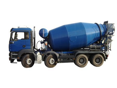 Blue Cement Mixer Truck isolated on white. Stock Photo