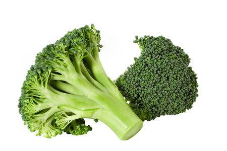 broccolli: Nutritious broccoli sheaf isolated on white background Stock Photo