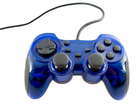peripherals: blue video game controller detail for console