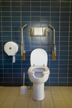 Public toilet with handicap supports Stock Photo - 2506343