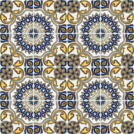 mosaic floor: ceramic tiles seameless pattern   Stock Photo
