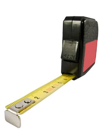 metric: measure tape in metal with metric system    Stock Photo