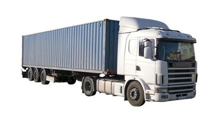 European flatbed 18-wheeler with metal container