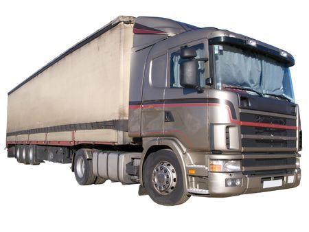 18 wheeler: European flatbed 18-wheeler with metal container
