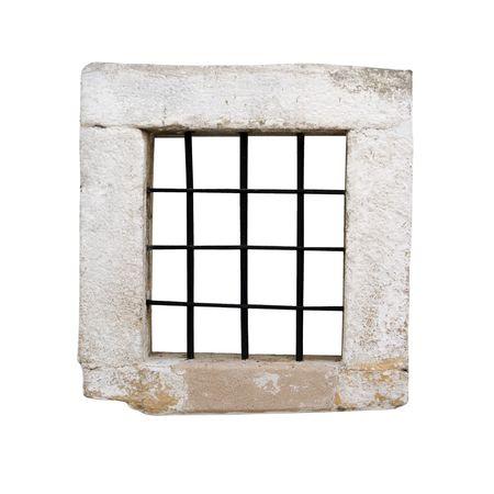 rejas de hierro: Ventana de una antigua prisi�n de c�lulas