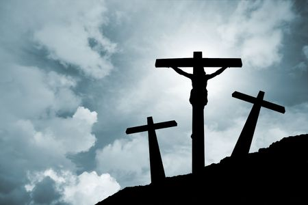 Jesus Christ crucified in Golgotha   Stock Photo