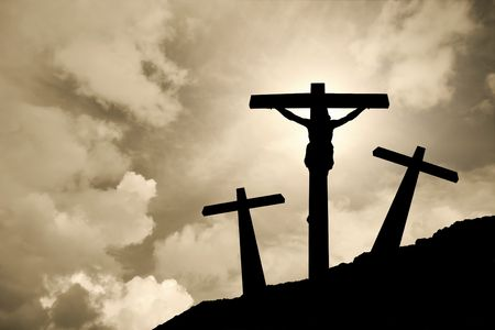 moody: Jesus Christ crucified in Golgotha   Stock Photo