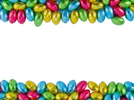 Frame made of Chocolate eggs. Traditional Easter sweet.