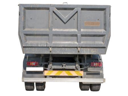 European dump truck rear view