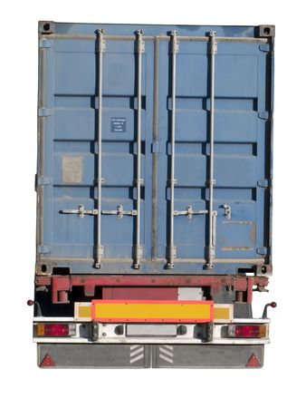 European flatbed 18-wheeler with metal container photo