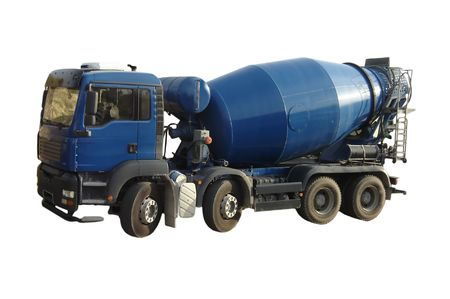 concrete mixer truck: Blue Cement Mixer Truck isolated on white