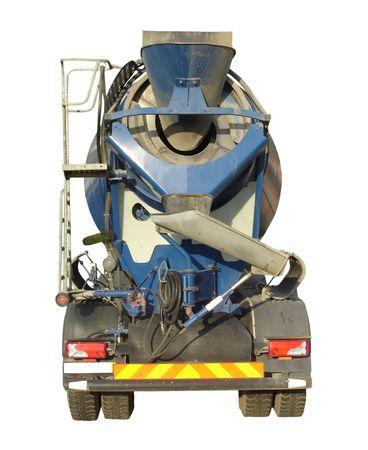 cemento: Blue mezcladora de cemento de Camiones aislados en blanco