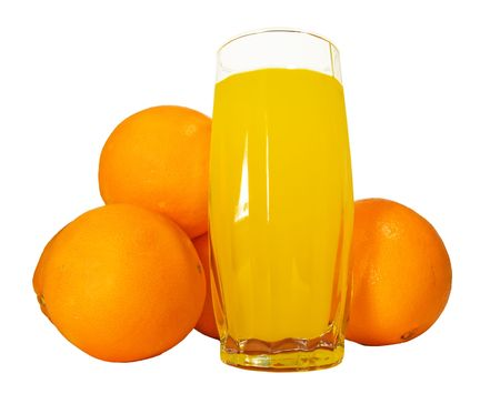 Glass of natural orange juice with oranges   photo