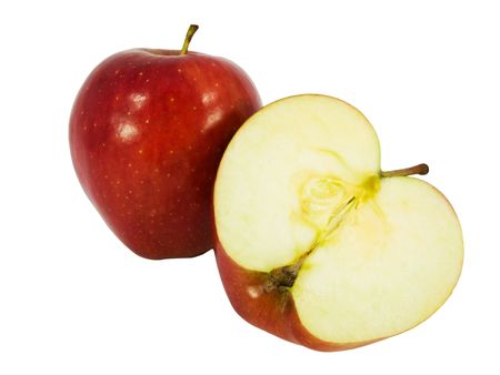 Tasty red apple cut in half isolated on white background Stock Photo - 2782064
