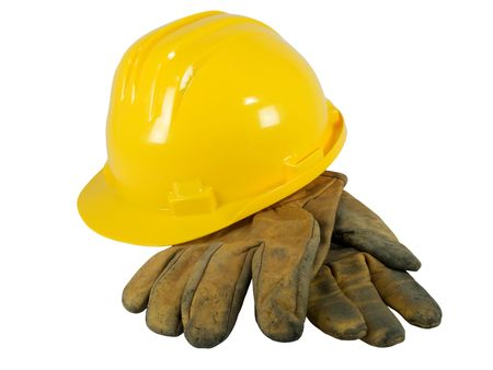 Yellow hardhat and old leather gloves isolated on white background   Stock Photo - 2782082