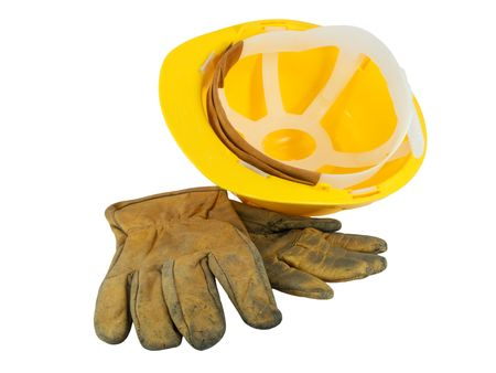 Yellow hardhat and old leather gloves isolated on white background Stock Photo - 2782084