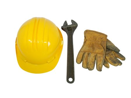 Yellow hardhat, old leather gloves and wrench isolated on white background   Stock Photo - 2782081