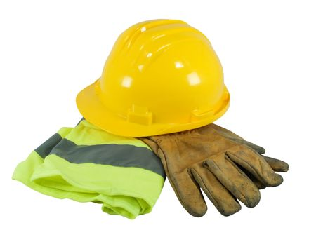 Yellow hardhat, old leather gloves and reflective vest  isolated on white background   photo