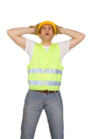 Scared construction worker isolated on white background photo