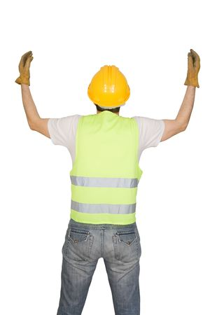 Construction worker signaling isolated on white background photo