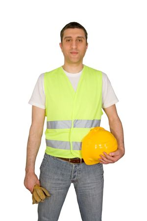 Construction worker isolated on white background photo
