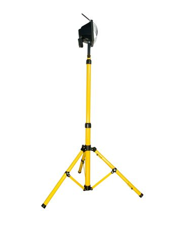tripod mounted: Halogen projector mounted on a tripod isolated on white background