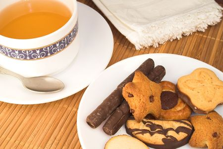 junkfood: Cup of tea and biscuits Stock Photo