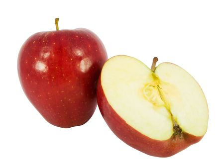 Tasty red apple cut in half isolated on white background   Stock Photo - 3008815