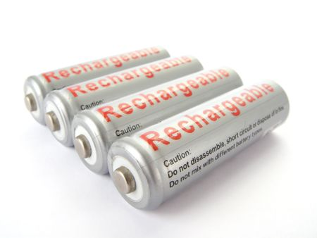 nimh: Rechargeable AA batteries isolated on white background