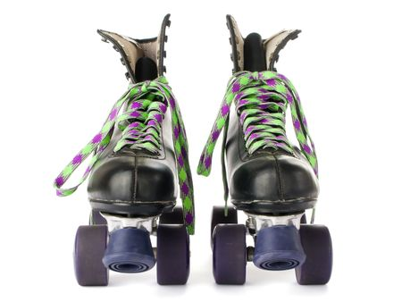 rollerskates: Retro roller skates isolated on white background  Stock Photo