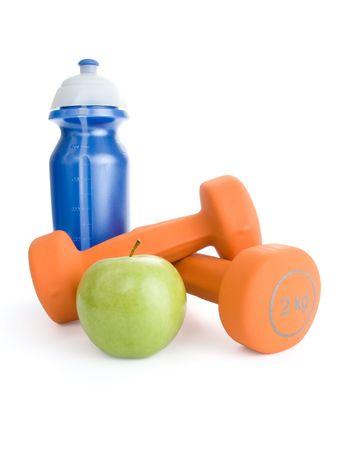 manzana agua: Fitness pesa, botella de agua y manzana