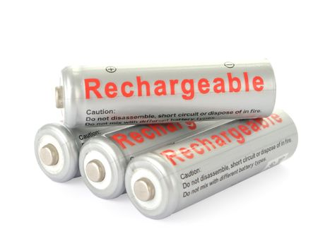 nimh: Rechargeable AA batteries isolated on white background  Stock Photo