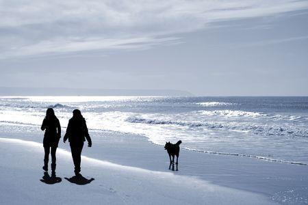 homosexuales: dos mujeres caminando en la playa en invierno con un perro