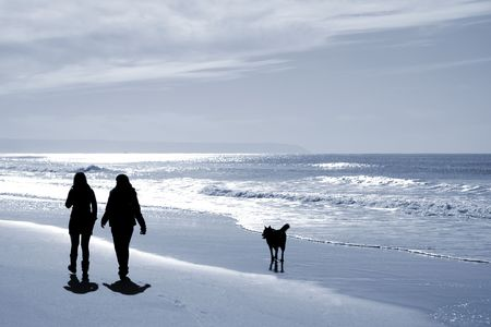 two women walking at the beach in the winter with a dogn