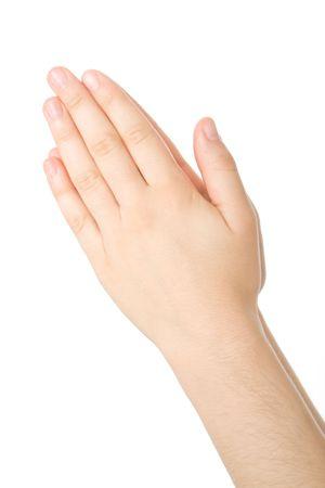manos orando: Manos privadas en la oraci�n aislados sobre fondo blanco
