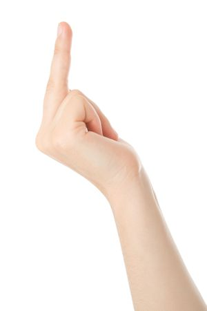 giving the finger: Showing the finger isolated on white background