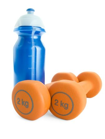 Fitness dumbbells and water bottle Stock Photo