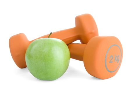 Fitness dumbbells and an apple photo