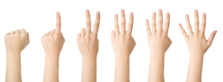 Set of hands making the numbers from 0 to 5 Stock Photo - 3185012