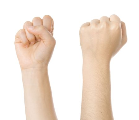 Concept for struggle sign made with hands isolated on white Archivio Fotografico